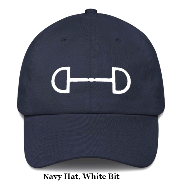 ladies equestrian baseball cap navy and white