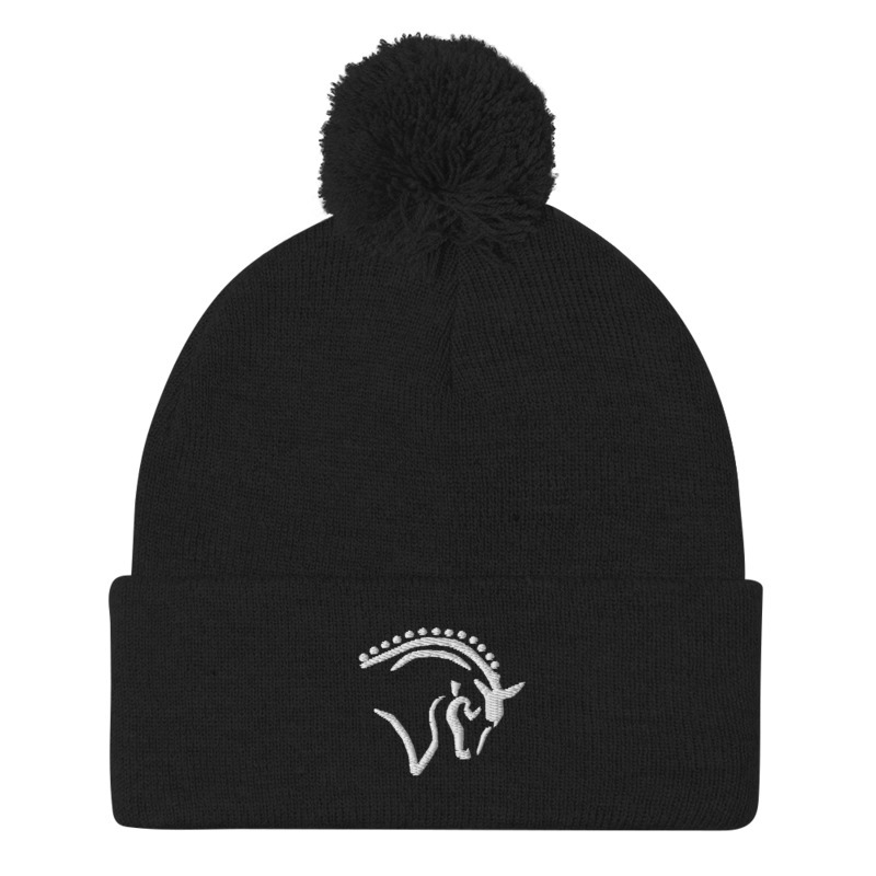 black knit pom pom beanie with horse embroidery for stylish equestrian