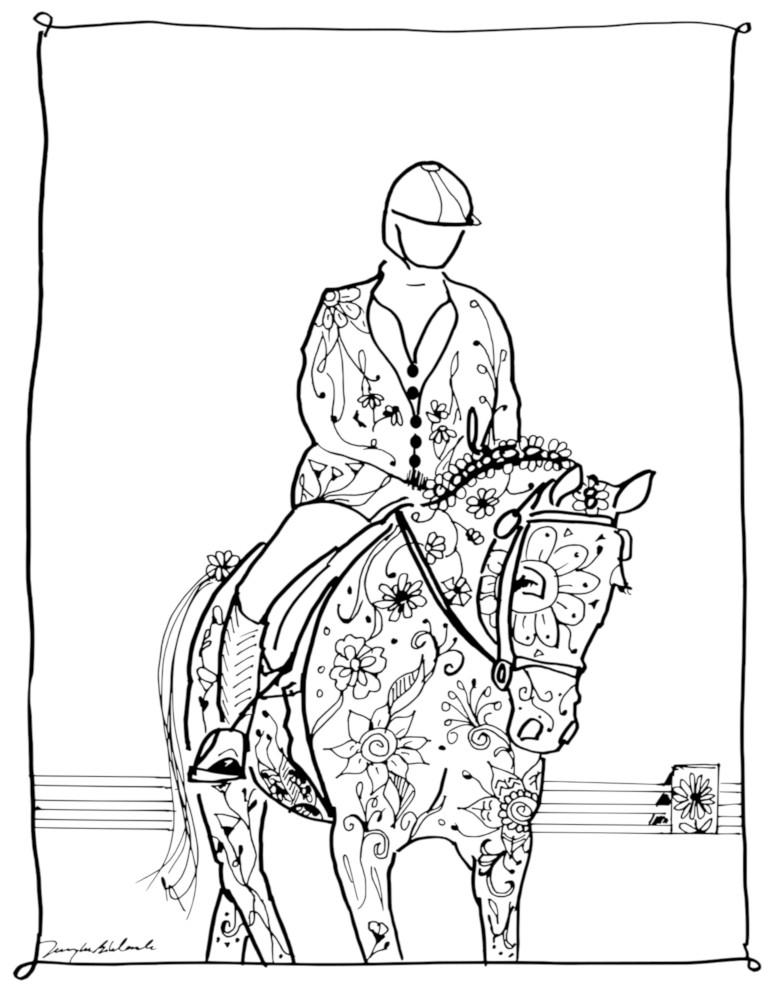 coloring book page 2 dressage 1000x 72 dpi