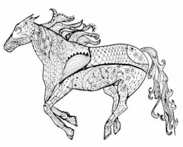 Instant Download - Galloping Horse coloring page