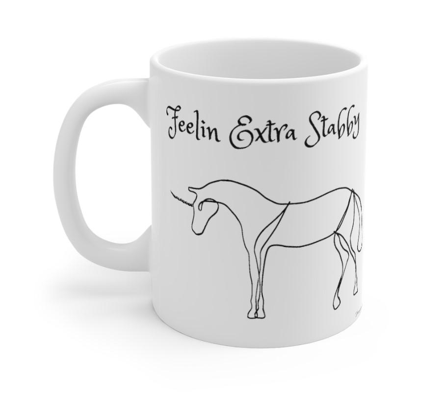 ceramic mug stabby unicorn left 11 ounce