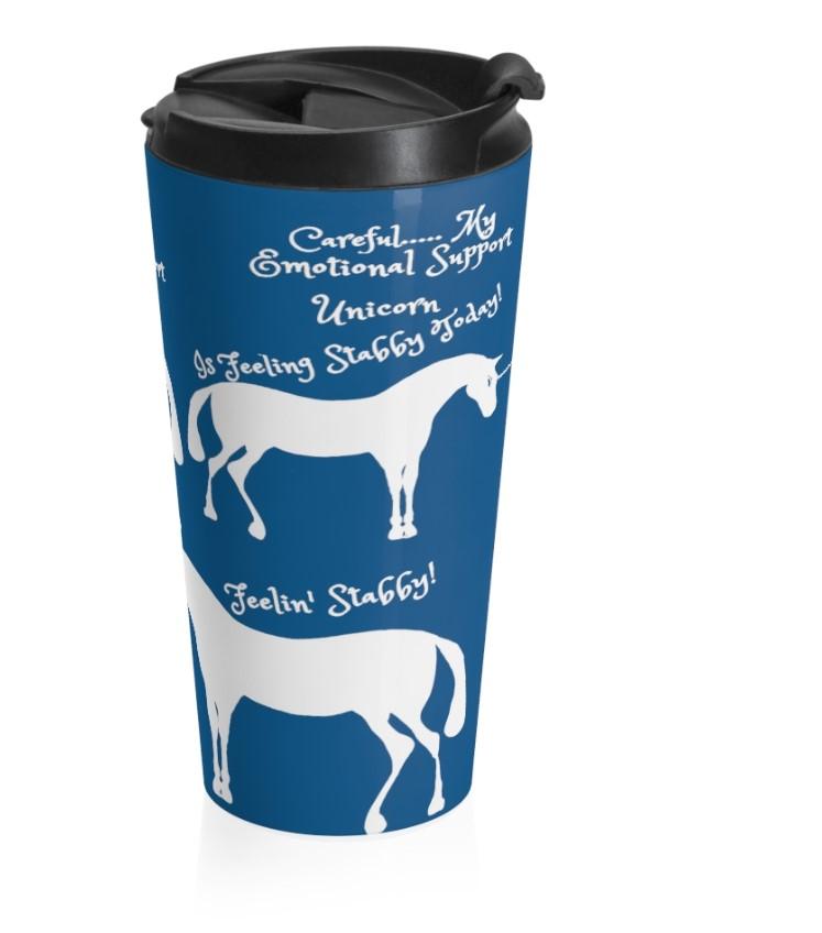 emo stabby unicorn classic blue travel mug