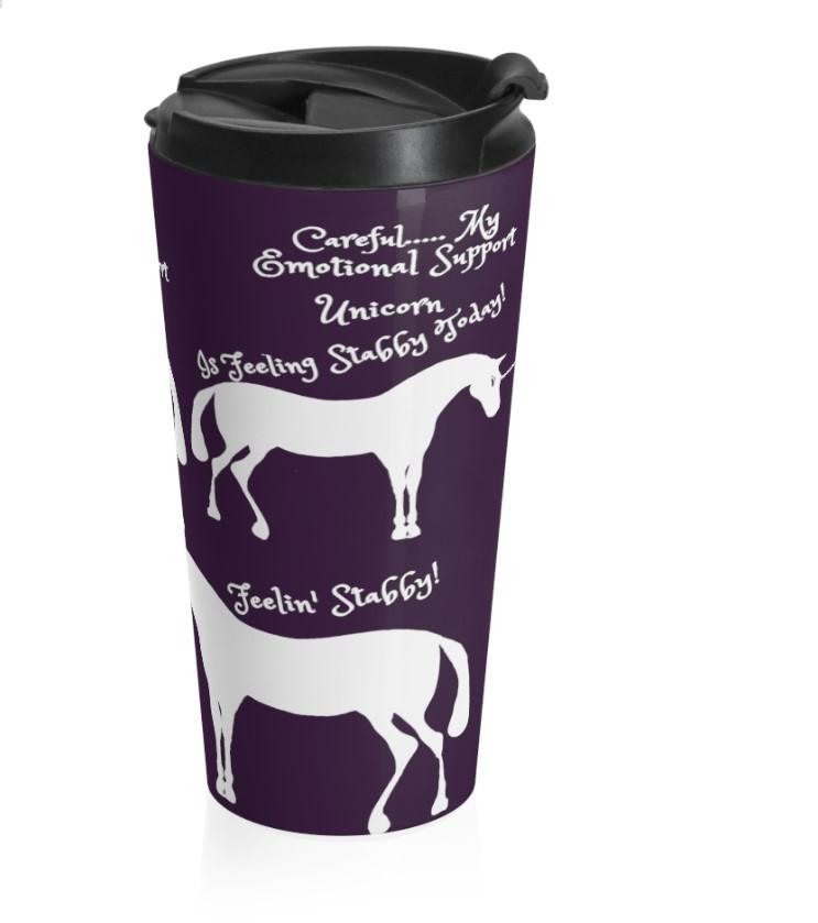 emo stabby unicorn plum purple travel mug