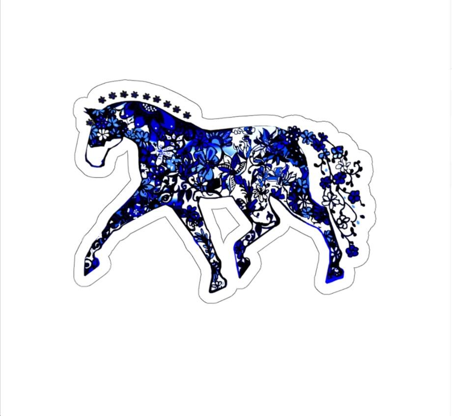 sticker blue dressage plain