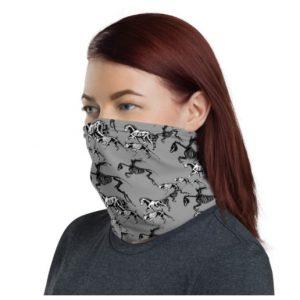 spooky horses on grey headband neck gaiter