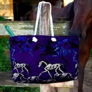 Skeleton Horse and Dog jumbo weekender tote bag