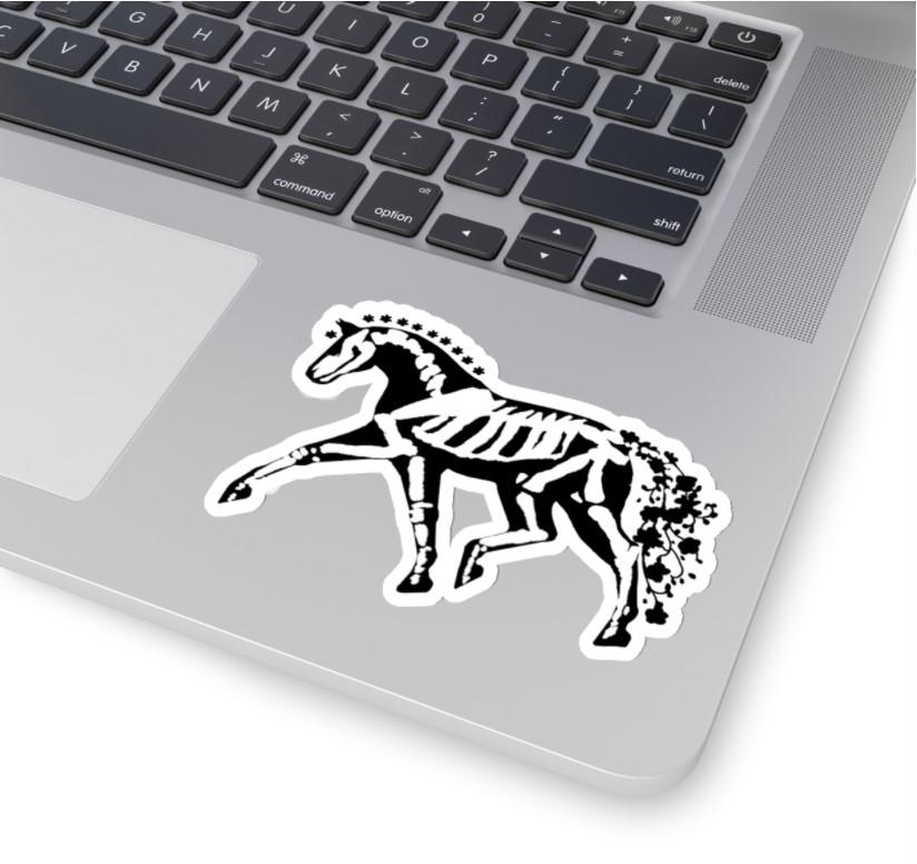skelli horse black white sticker