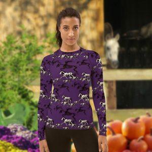 Skeleton crew halloween on purple long sleeve shirt