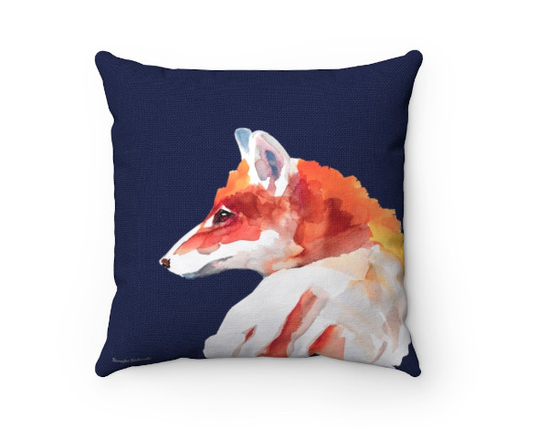 red fox on blue pillow