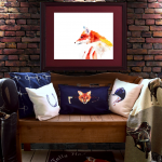 foxhunting lumbar pillow on a cozy bench