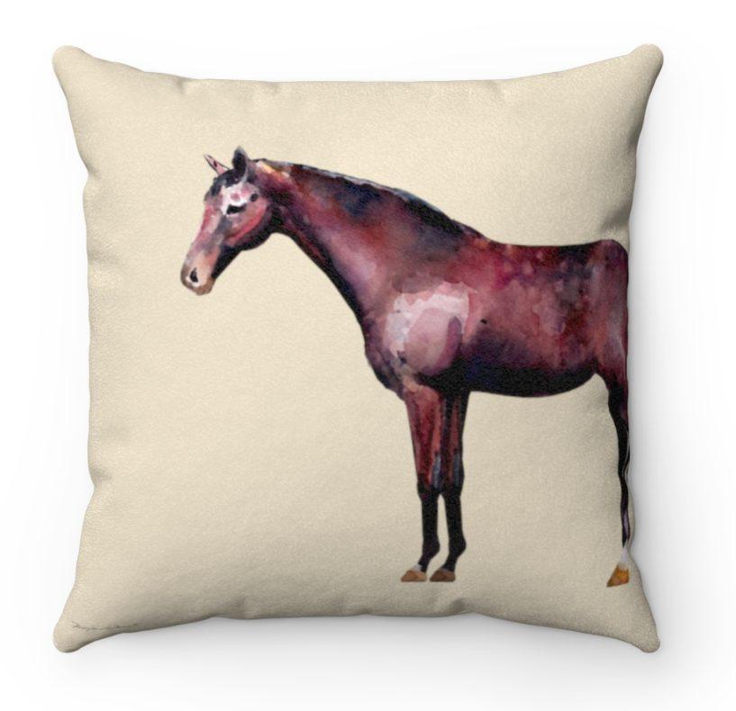 bay horse throw pillow