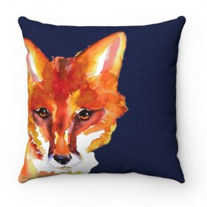 peeking red fox on blue pilliow