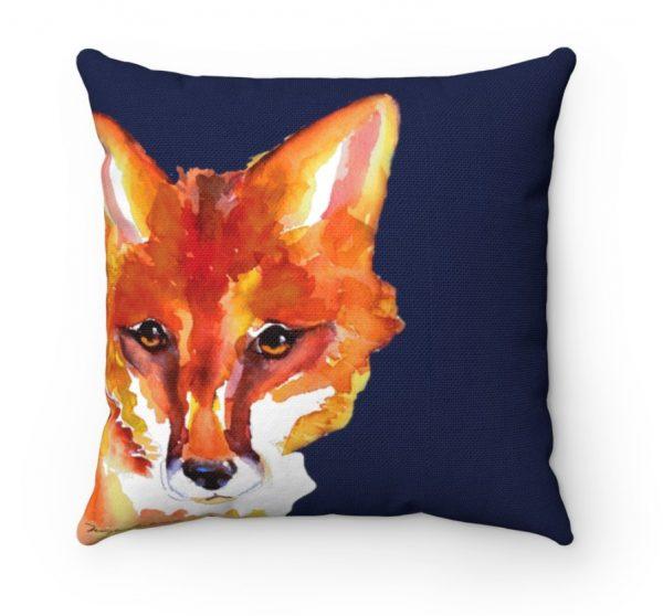 peeking red fox on blue pilliow