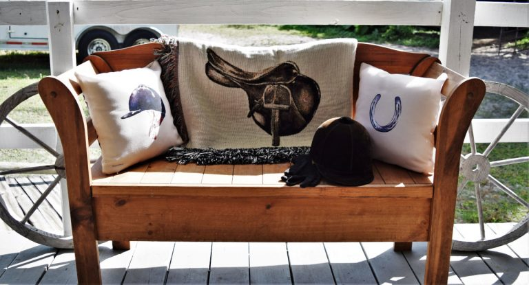 Equestrian Throw blanket and pillows
