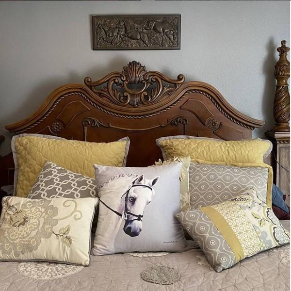grey horse pillow