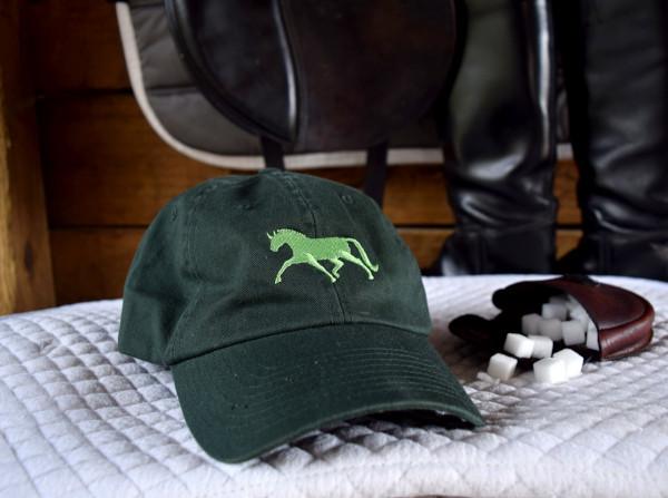 green hat green dressage horse