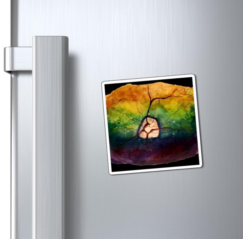 canine magent on fridge