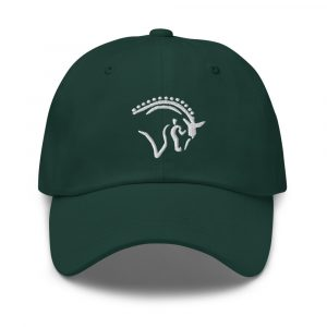 Hunter green hat with horse logo