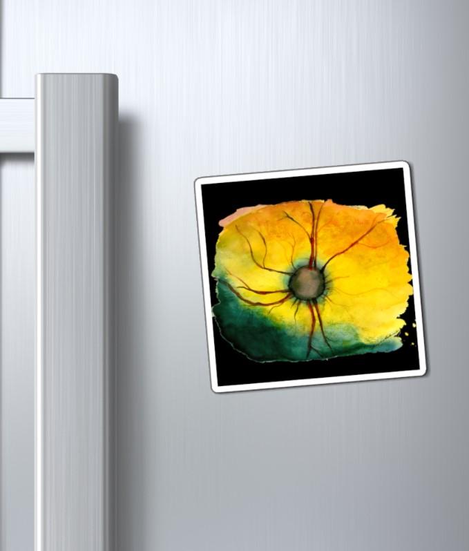 feline magnet on fridge