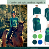 Mnay views of an equestrian riding shirt including a woman riding a horse