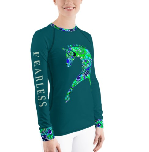 Technical riding shirt in teal for equestrian