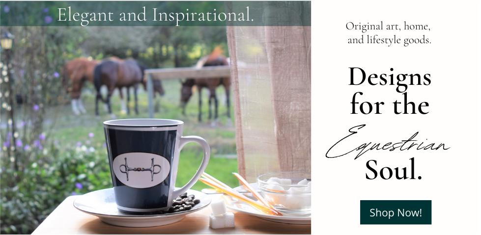 Beautiful snaffle bit latte mug in a bucolic horse scene