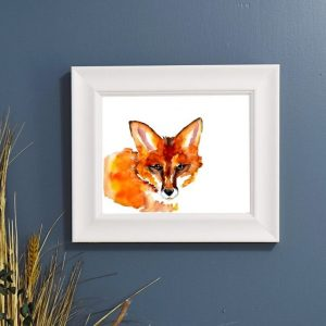 Fox watercolor on a blue background