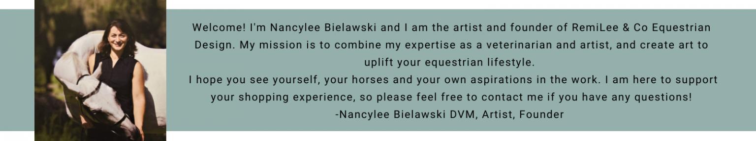 Nancylee Bielawski DVM equine veterinairian and artist painting watercolors of horses