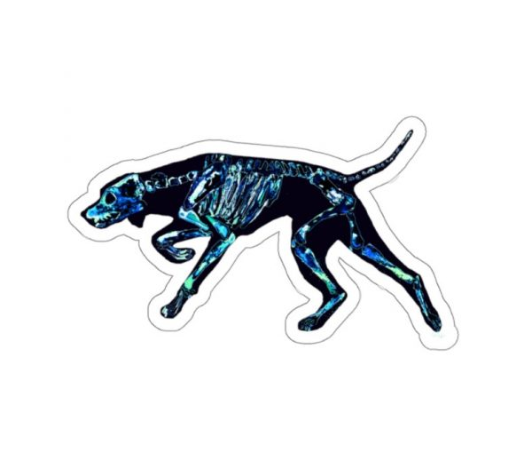 pretty dog skeleton for cool halloween decal