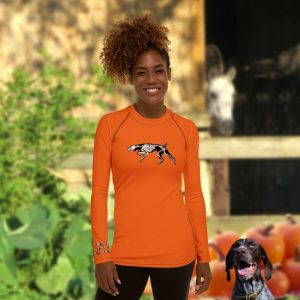 orange long sleeve shirt with german shorthair pointer skeleton for halloween