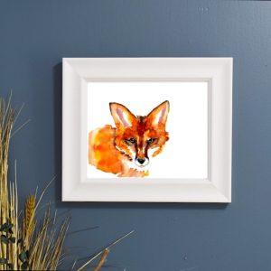 watercolor peeking fox