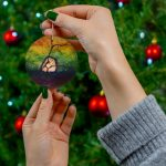 canine retina ceramic holiday ornament for veterinarian or eye doctor