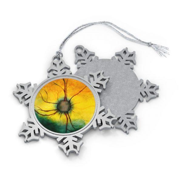pewter snowflake ornament cat retina