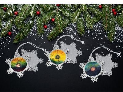set of 3 retina snoflake ornaments